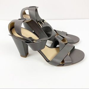 J. Crew Gray Leather Made in Italy Heels Sz 8.5